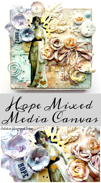 Hope Mixed Media Rainbow Canvas with Gold Foil Hearts by Dana Tatar for Paper Wings Productions