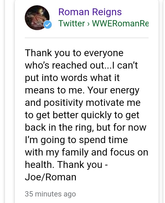 Last Tweet of Roman Reigns