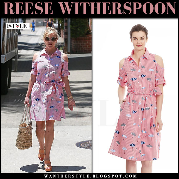 Reese Witherspoon in pink  pinstripe shirt dress draper james what she wore june 15 2017
