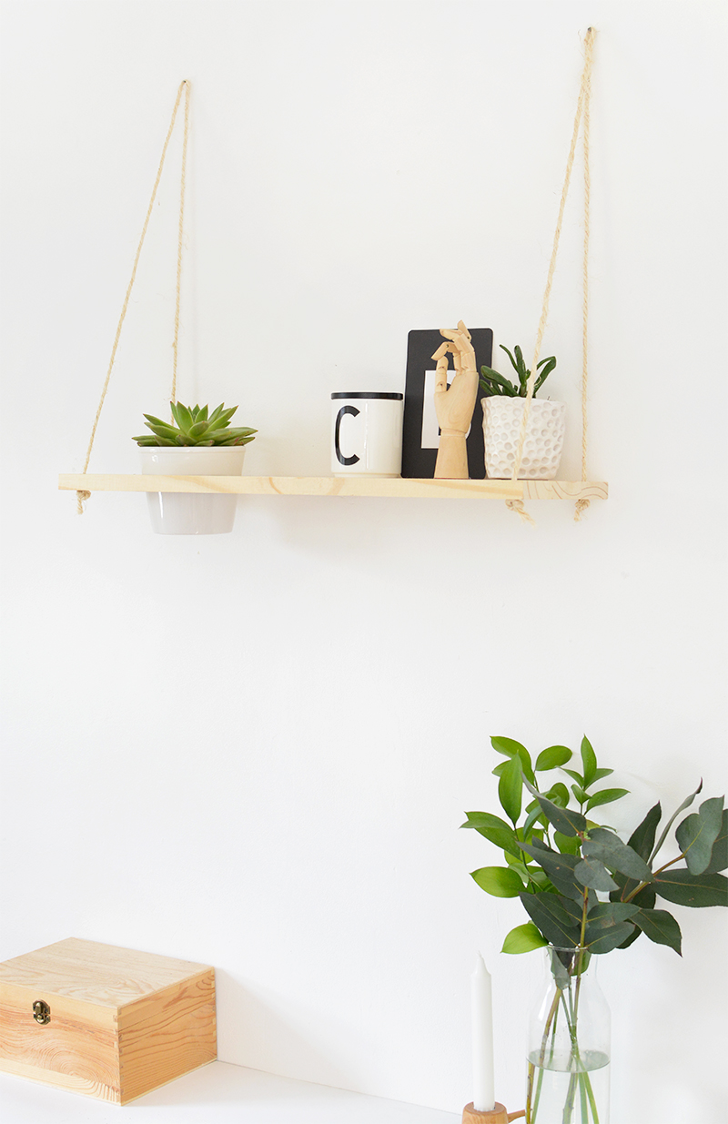 how to make a hanging rope shelf