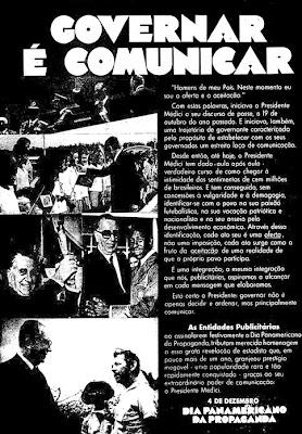 anuncio enaltecendo o governo militar do presidente Medici  - 1970; Oswaldo Hernandez.