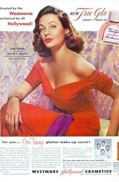 Gene Tierney in red dress for 1950's Ad for Westmore Hollywood Cosmetics