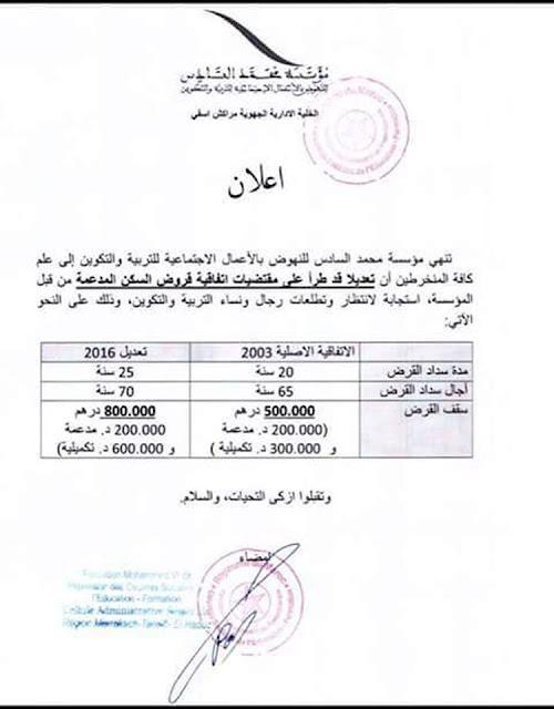 قروض السكن المدعمة من مؤسسة محمد السادس للأعمال الاجتماعية لأسرة التعليم