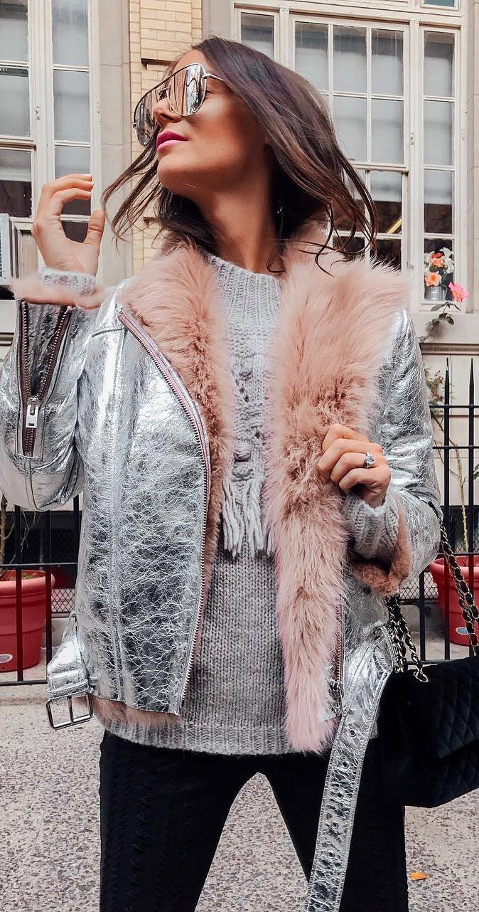 incredible winter outfit idea : silver jacket + knit sweater + bag + skinnies