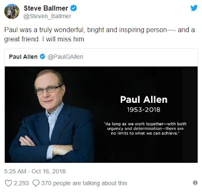 Đồng sáng lập Microsoft Paul Allen qua đời ở tuổi 65 vì bệnh ung thư