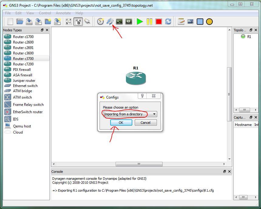 Не сохраняются настройки роутера в GNS3 - IT it's Easy