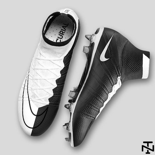 best service ccfe3 a90e8 Black and White Nike Mercurial Superfly Boots by Nick Texeira