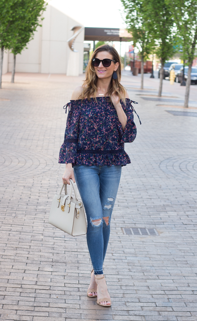 Floral off shoulder top #stitchfix #floralblouse
