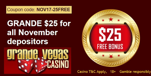 Visit Grande Vegas Casino for your $25 FREE