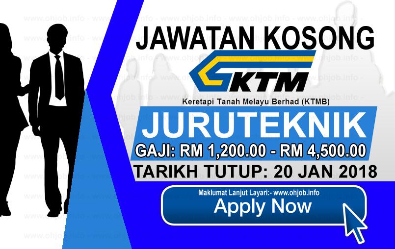 Jawatan Kerja Kosong Keretapi Tanah Melayu Berhad - KTMB logo www.ohjob.info januari 2018