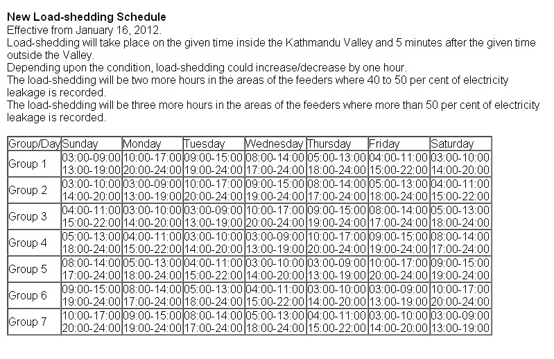 Loadshedding Schedule: New Load Shedding Schedule Of Nepal ( Effective From 16th