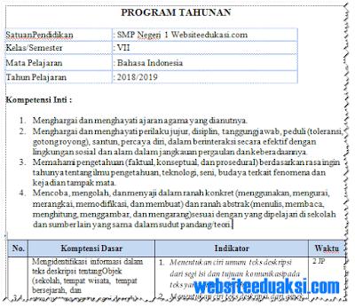Prota Bahasa Indonesia Kelas 7 SMP/MTs K13 Revisi 2018