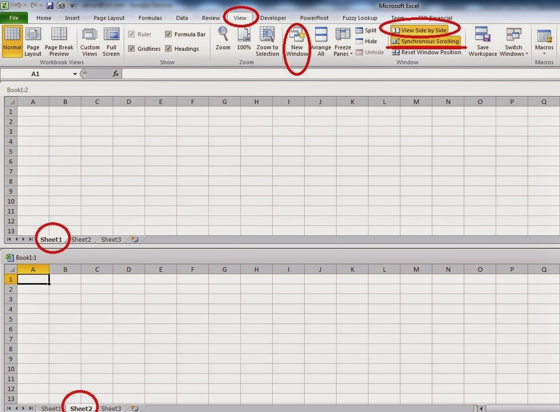 Amiq S Excel Learning Viewing Two Sheets Of The Same