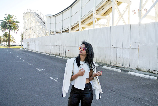 shop tobi fashion blogger everyday like this melbourne street style leather pants white top forver 21 quay monochrome