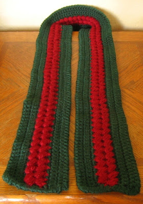 Wine Red Clusters on Pine Green Textured Winter Scarf - Hand-Crocheted by RSS Designs In Fiber