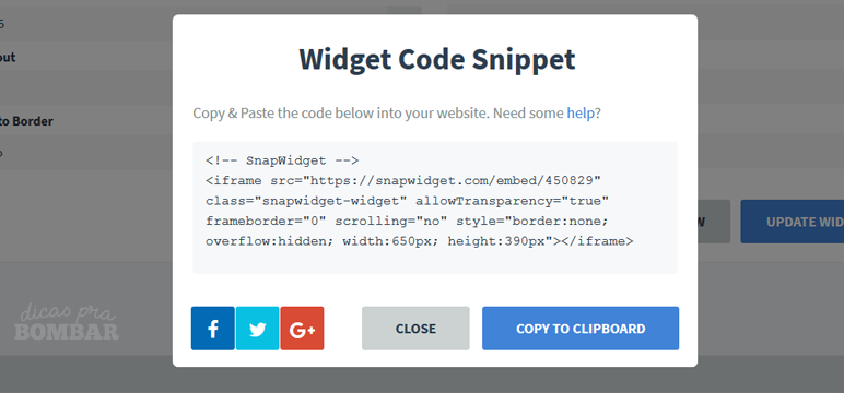 Código gerado pelo Snapwidget
