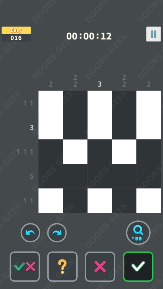 Nonogram King Easy Level 16 Solution, Cheats, Walkthrough for Android, iPhone, iPad and iPod
