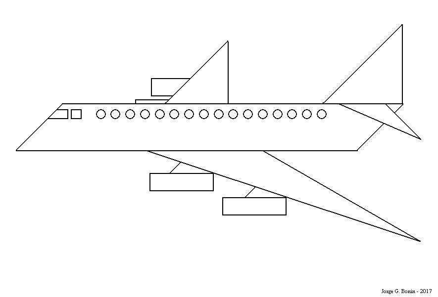 Arte No Paint: Desenho Para Colorir: Avião Geométrico