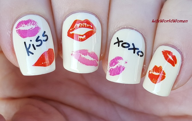 Life World Women Pastel Yellow Valentines Day Nail Art With Water