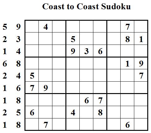 Coast to Coast Sudoku (Daily League #4)