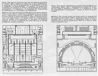 plans of restaurant level and conference level, Folkets hus, Stockholm - Sven Markelius