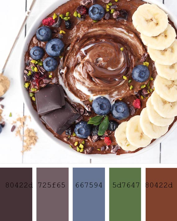 super creamy chocoholic smoothie recipe and color palette