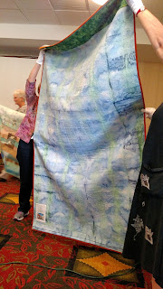 The Longest Day, quilt back, at Sue Reno lecture