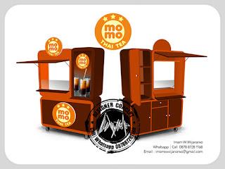 desain gerobak thai tea momo