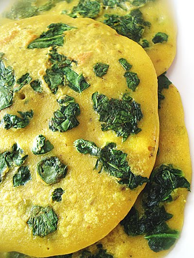 besan spinach crepes Indian