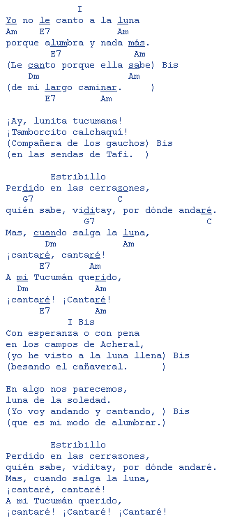 Luna tucumana zamba por mercedes sosa letras y acordes for El jardin acordes