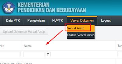 Cara Verval Dokumen Guru atau Verval Data Arsip PTK PDSP Kemdikbud