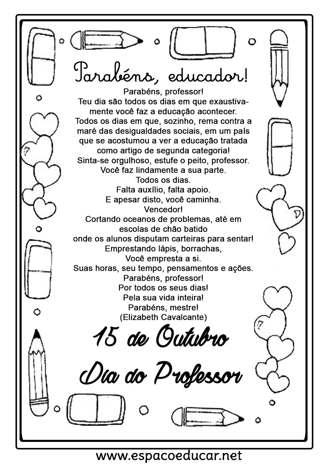 Mensagens Para O Dia Dos Professores Para Imprimir Espaco Educar