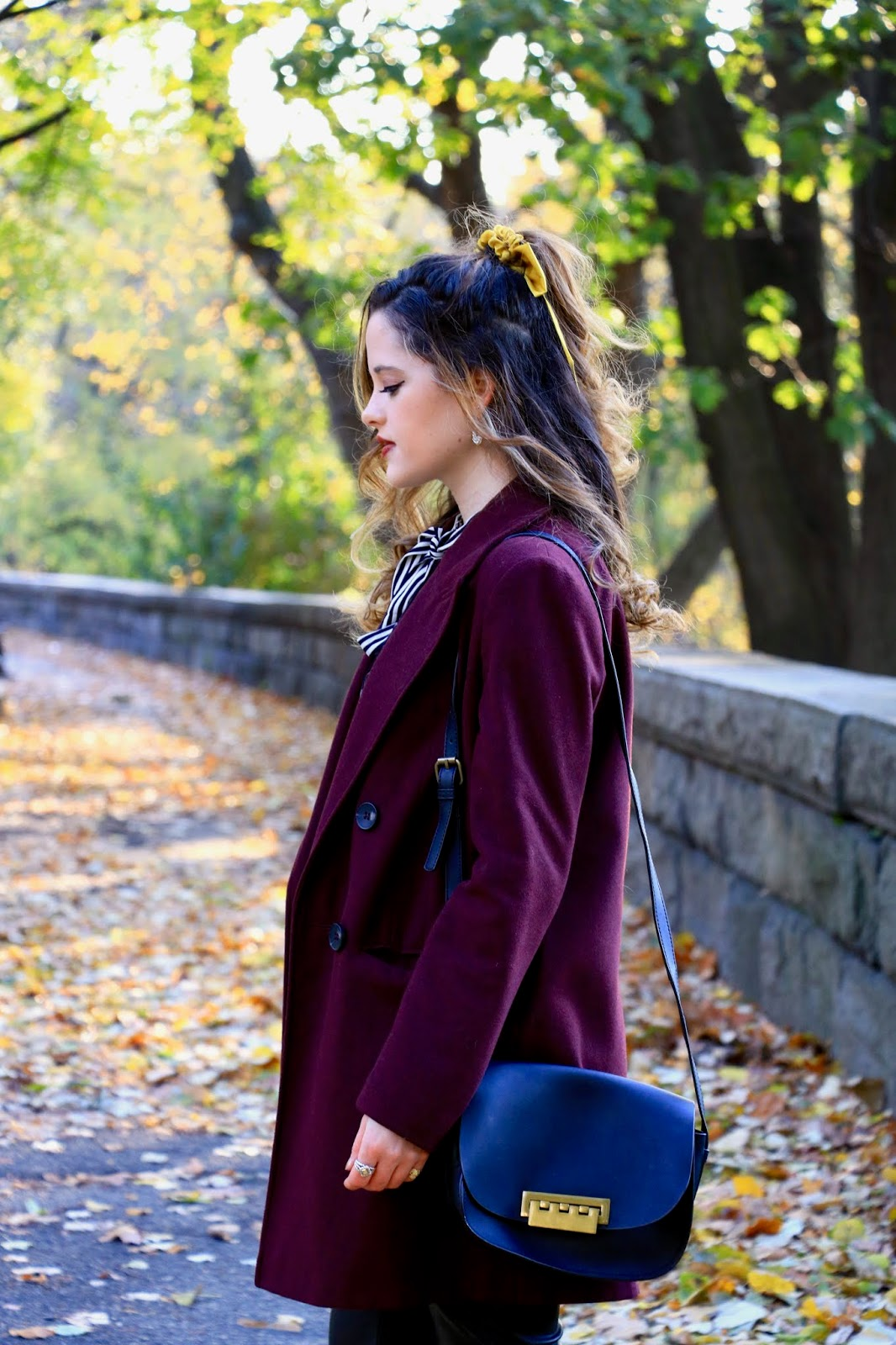 Nyc fashion blogger Kathleen Harper's burgundy coat outfit ideas