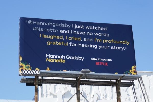 Hannah Gadsby Nanette tweet billboard