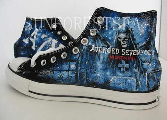 a523ced98bc4e5 Avenged Sevenfold Custom Converse Painted Shoes Canvas Sneaker presents  Shoes