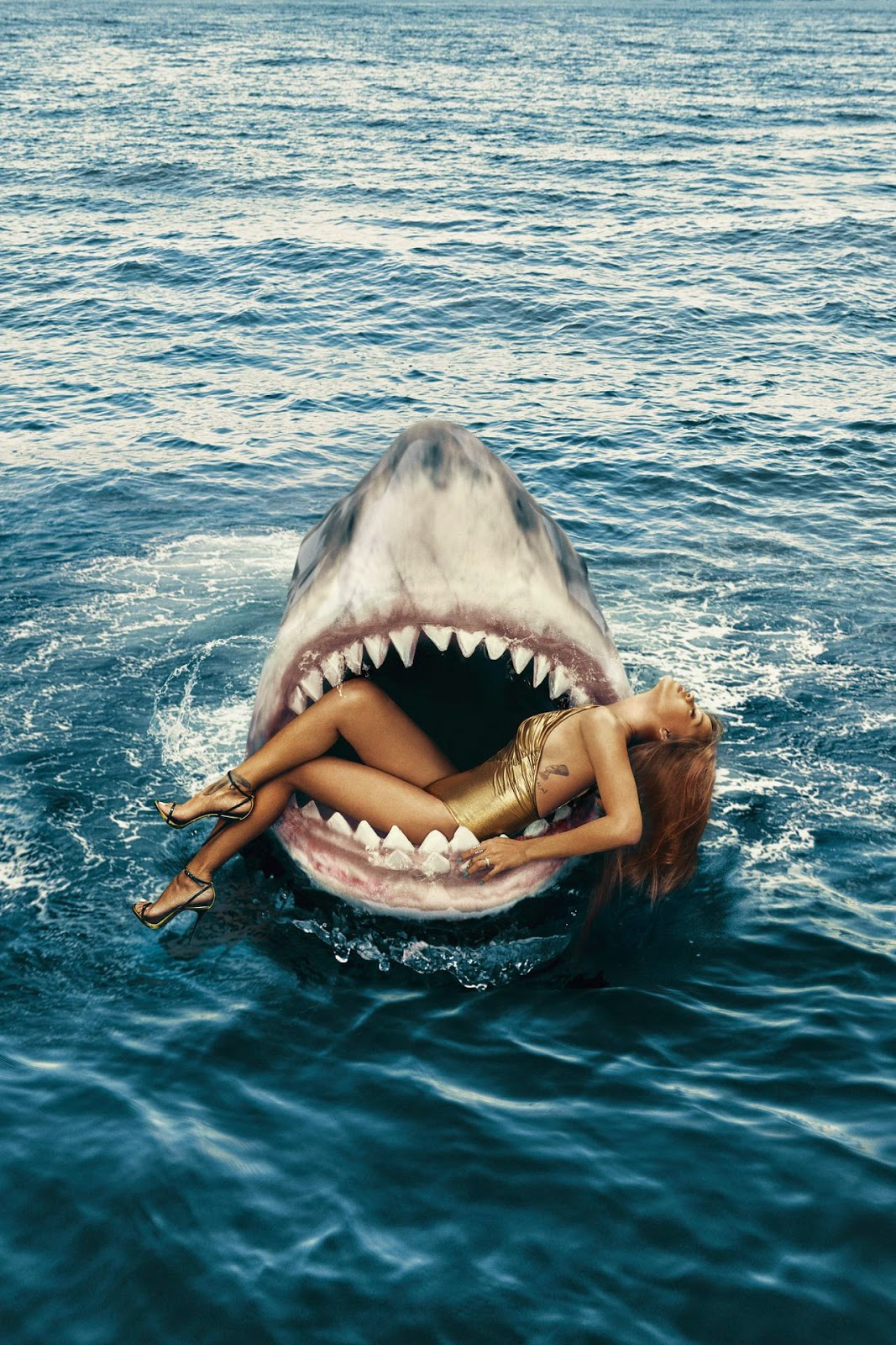 Rihanna does a photoshoot with sharks for Harper's Bazaar US March 2015 edition