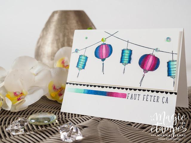 Carte d'anniversaire Stampin' Up! créée avec le jeu d'étampes Couleur Bonheur