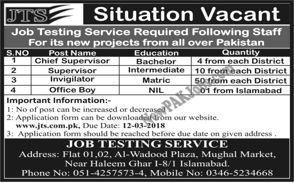 Latest Jobs in JTS Testing Service 2018 for New Project