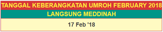 Jadwal Paket Umroh Februari 2018 Langsung Madinah