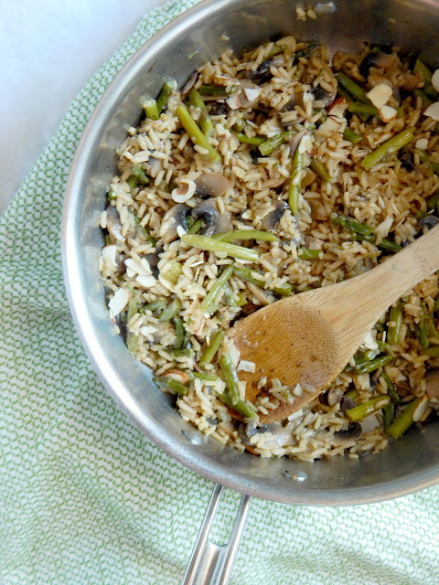 Mushroom & Asparagus Rice Pilaf....a simple, 20 minute side dish full of beefy mushrooms and crisp vegetables.  This rice pilaf pairs great with grilled steak, shrimp, chicken or by itself! (sweetandsavoryfood.com)