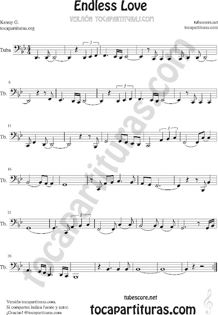 Tuba y Contrabajo Partitura de Endless Love Sheet Music for Trombone, Tube, Euphonium Music Scores (tuba en 8ª baja)