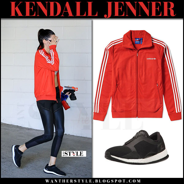 Kendall Jenner in red track jacket adidas beckenbauer and black leggings what she wore june 15 2017 workout fashion