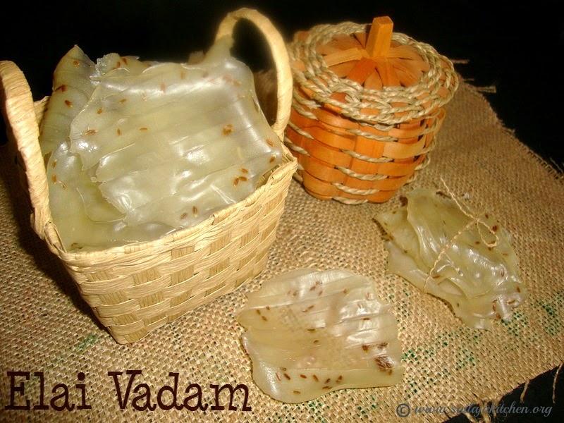 images for Elai Vadam Recipe / Stand Vadam / Yelai Vadam / Steamed Vadam Recipe -  A Traditional South Indian Rice Papad