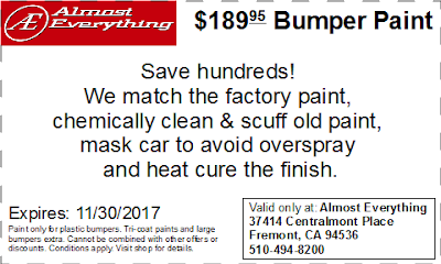 Discount Coupon $189.95 Bumper Paint Sale November 2017