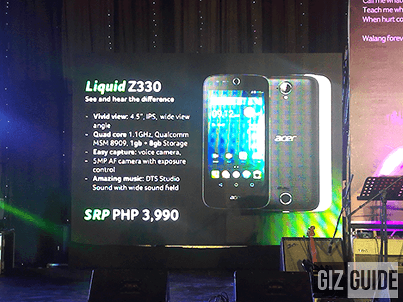 Acer Liquid Z330 LTE Enabled Entry Level Phone Now Official, Priced At Just 3990 Pesos!