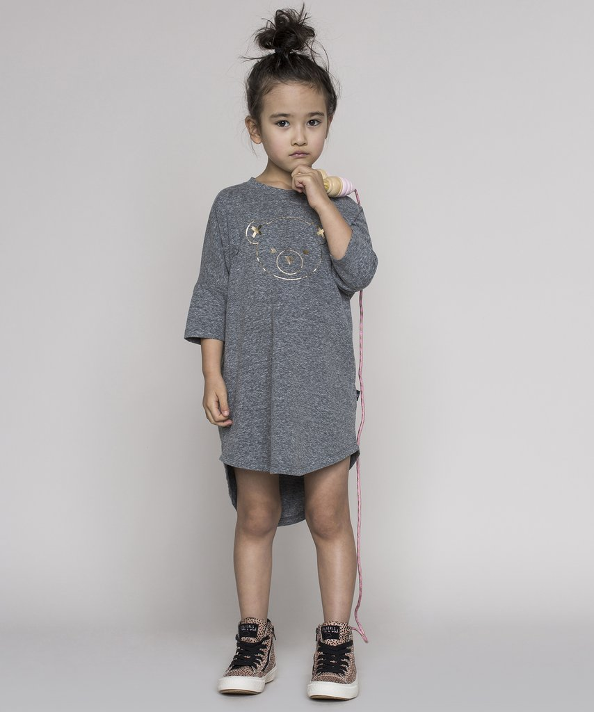 Huxbaby - monochrome kids fashion SS16/17 - grey melange bear dress