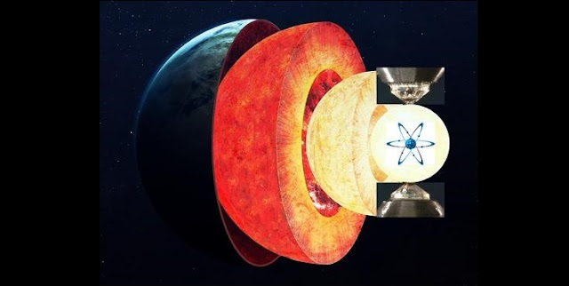 An illustration of how laboratory techniques can tell scientists like Anat Shahar and her team about how elements such as iron behave under the extreme pressures found in the Earth's core. Background image courtesy of Vadim Sadovski, additional imagery courtesy of Anat Shahar.