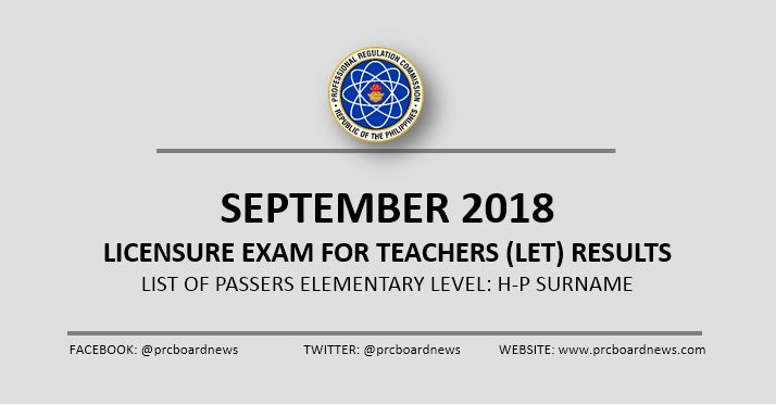 LIST: H-P Passers September 2018 LET Result Elementary