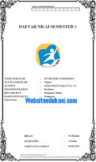 Format Daftar Nilai Kelas 6 SD/MI Kurikulum 2013 Revisi 2018