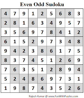 Even Odd Sudoku (Fun With Sudoku #84) Solution